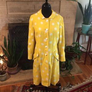 Jackets & Blazers - Vintage yellow and white polka dot jacket